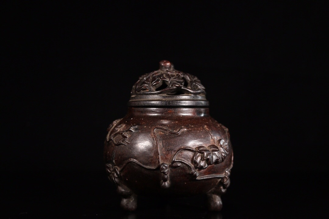 【1907M180119YS】中国古工芸 清 小葉紫檀 香熏炉 香具 置物 中国古美術 唐物古玩_画像3