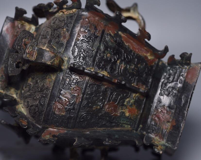 【1907T48221AYX】中国古董品 漢 時代唐物 古い銅 方罍 置物 中国古美術 唐物古玩_画像3