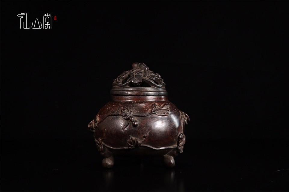 【1907M180119YS】中国古工芸 清 小葉紫檀 香熏炉 香具 置物 中国古美術 唐物古玩