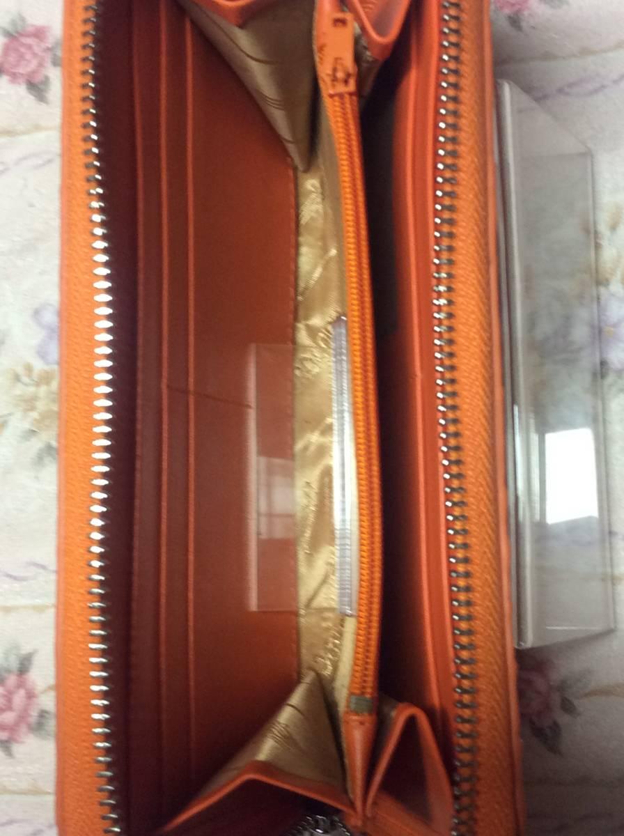 【 本物 1点物 新品 未使用 】クロコダイル (鰐革) クロコ ラウンドファスナー 金運 長財布 (ロングウォレット) オレンジ d15_画像3
