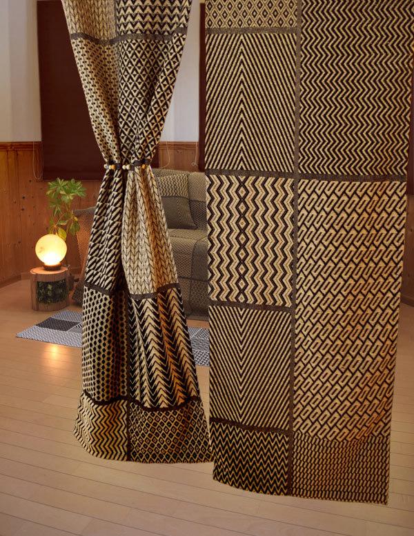 アフリカンモチーフ のれん 暖簾 厚手 コットン素材 民族調 コンゴ クバ王国 伝統織物 エスニック 店舗 間仕切り