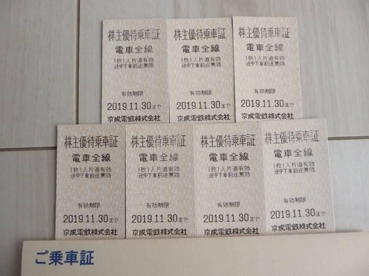 ○京成電鉄(京成)株主優待乗車証7枚セット(普通郵便送料無料)