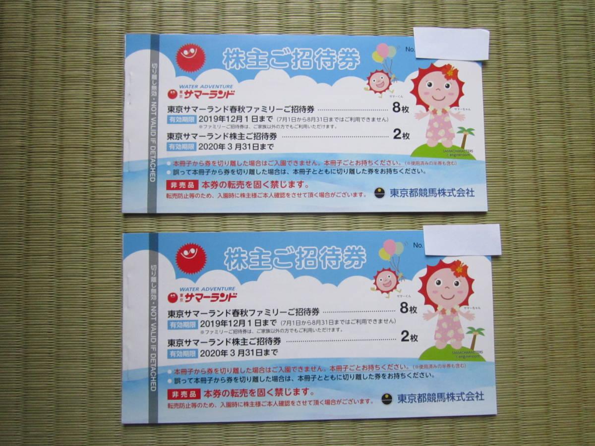 ◆東京サマーランド株主優待券2冊(10枚綴×2)◆ネコポス送料込◆