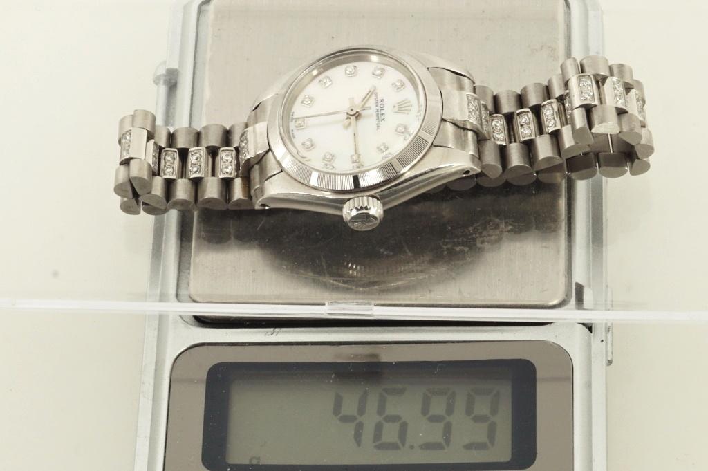 ロレックス ROLEX OYSTER PERPETUAL ホワイトシェル 自動巻き式腕時計 オーバーホール済 動作良し レディース_画像9