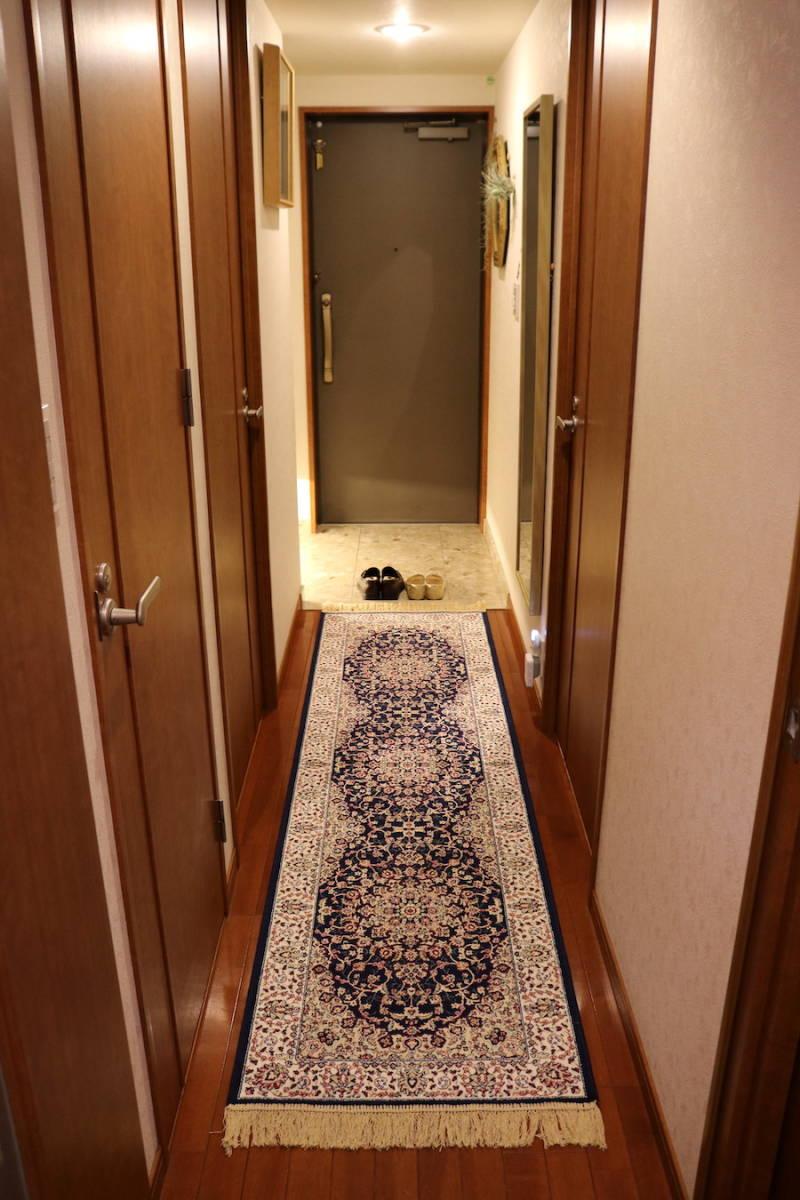 ランナー ペルシャ柄絨毯 67×240 新品未使用 カーペット 玄関マット 訳あり アウトレット ネイビー_画像10