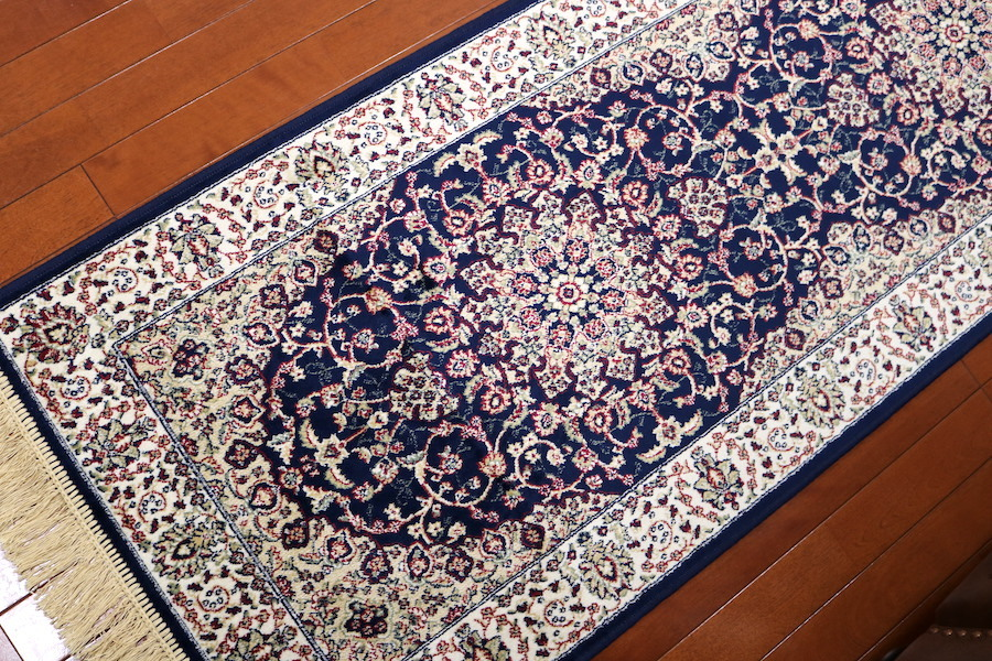 ランナー ペルシャ柄絨毯 67×240 新品未使用 カーペット 玄関マット 訳あり アウトレット ネイビー_画像4