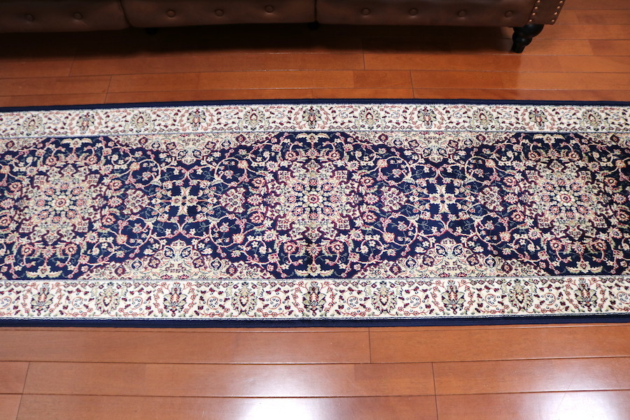 ランナー ペルシャ柄絨毯 67×240 新品未使用 カーペット 玄関マット 訳あり アウトレット ネイビー_画像3