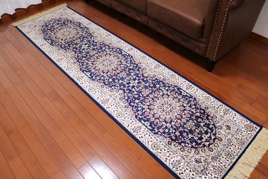 ランナー ペルシャ柄絨毯 67×240 新品未使用 カーペット 玄関マット 訳あり アウトレット ネイビー_画像2