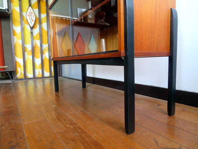 最落なし⑮・メンテナス済み・チーク・イギリスヴィンテージ家具・アバロンガラスキャビネット/検索北欧・McINTOSH・G-PLAN・デンマーク・_画像4