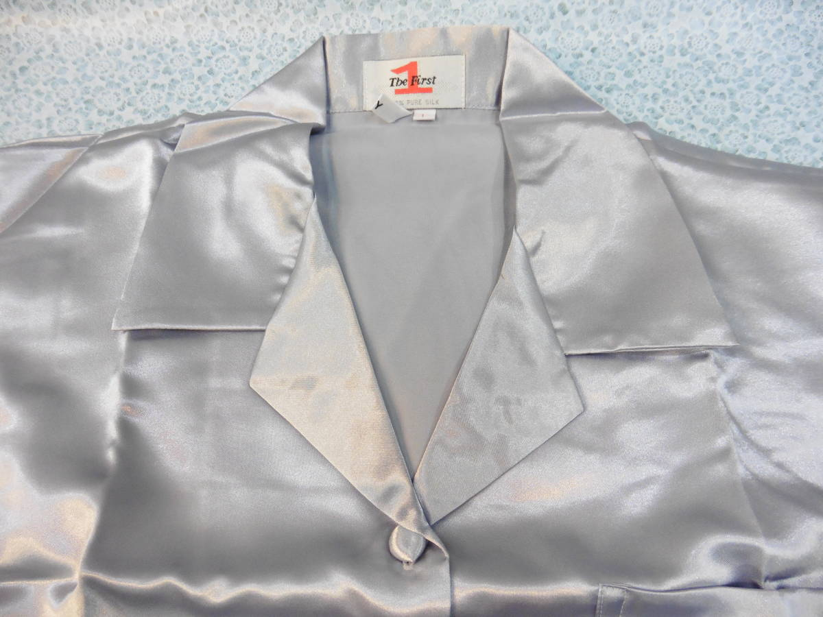 女性用 ナイトウェア 長袖 上下 パジャマ PURE SILK Lサイズ 100% シルク/絹 保管品 LP360_画像3