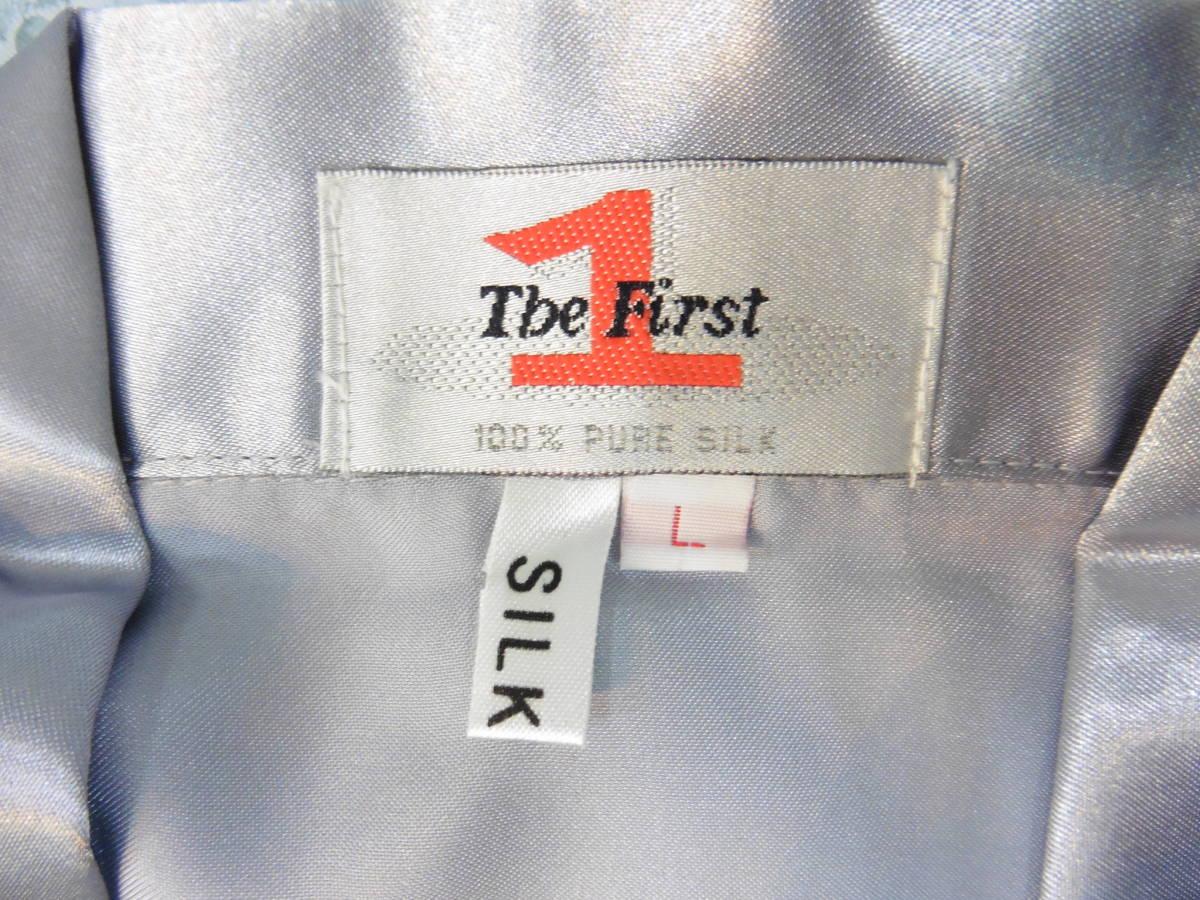女性用 ナイトウェア 長袖 上下 パジャマ PURE SILK Lサイズ 100% シルク/絹 保管品 LP360_画像4