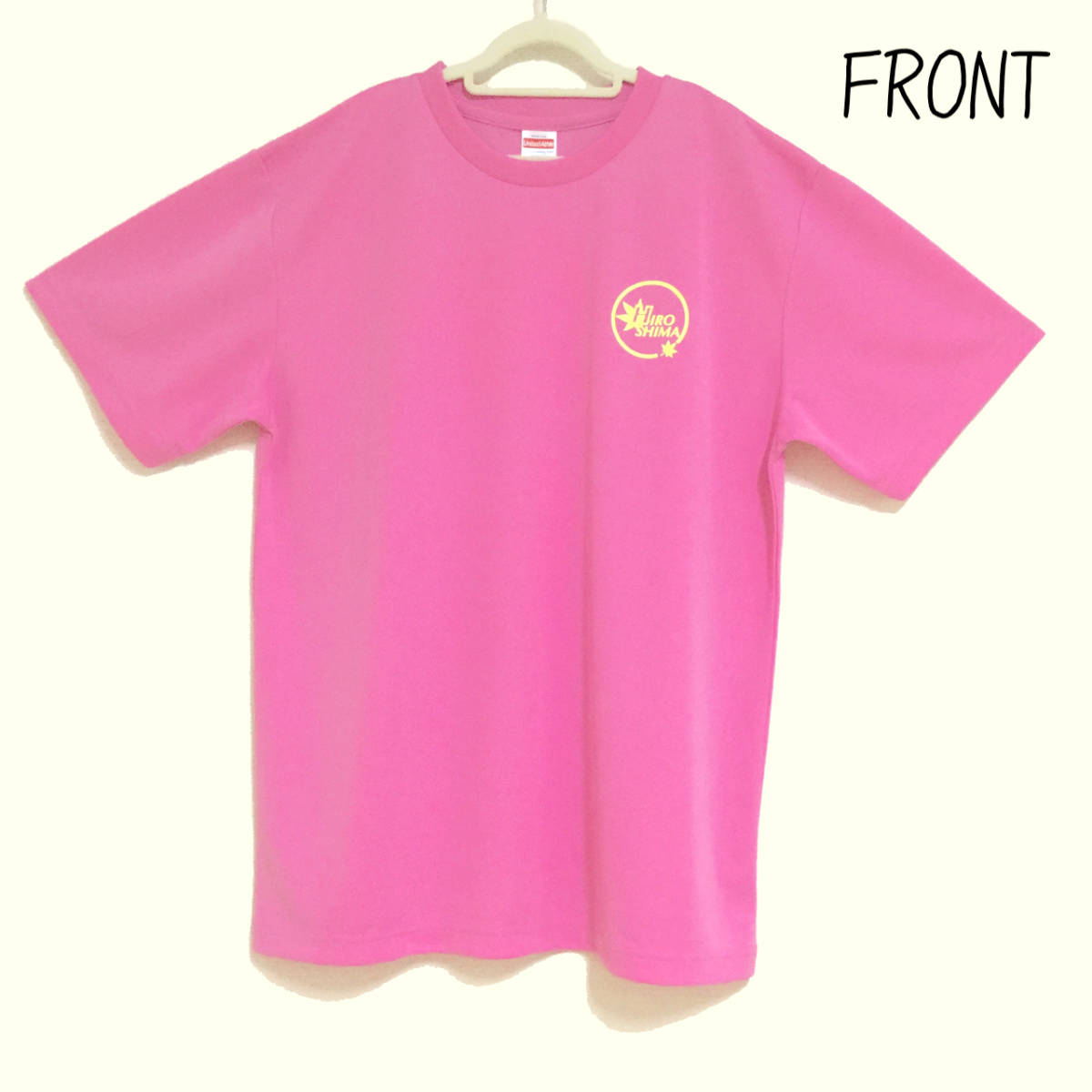 ドライTシャツ 広島ロゴ ピンク生地 XLサイズ