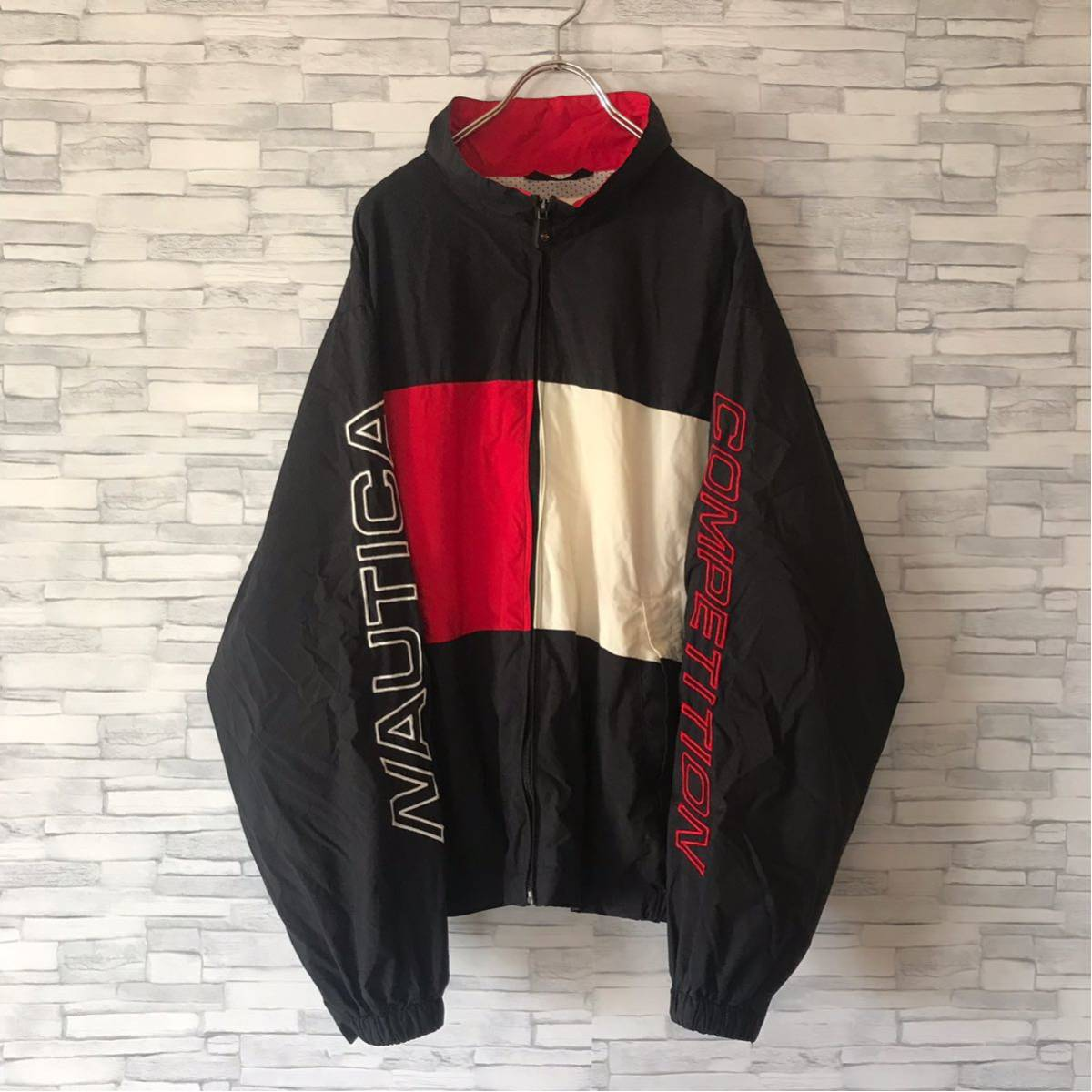 90s ノーティカ NAUTICA ナイロンジャケット ツートンカラー 袖ロゴ 裏メッシュ アウター ウィンドブレーカー セーリングジャケット