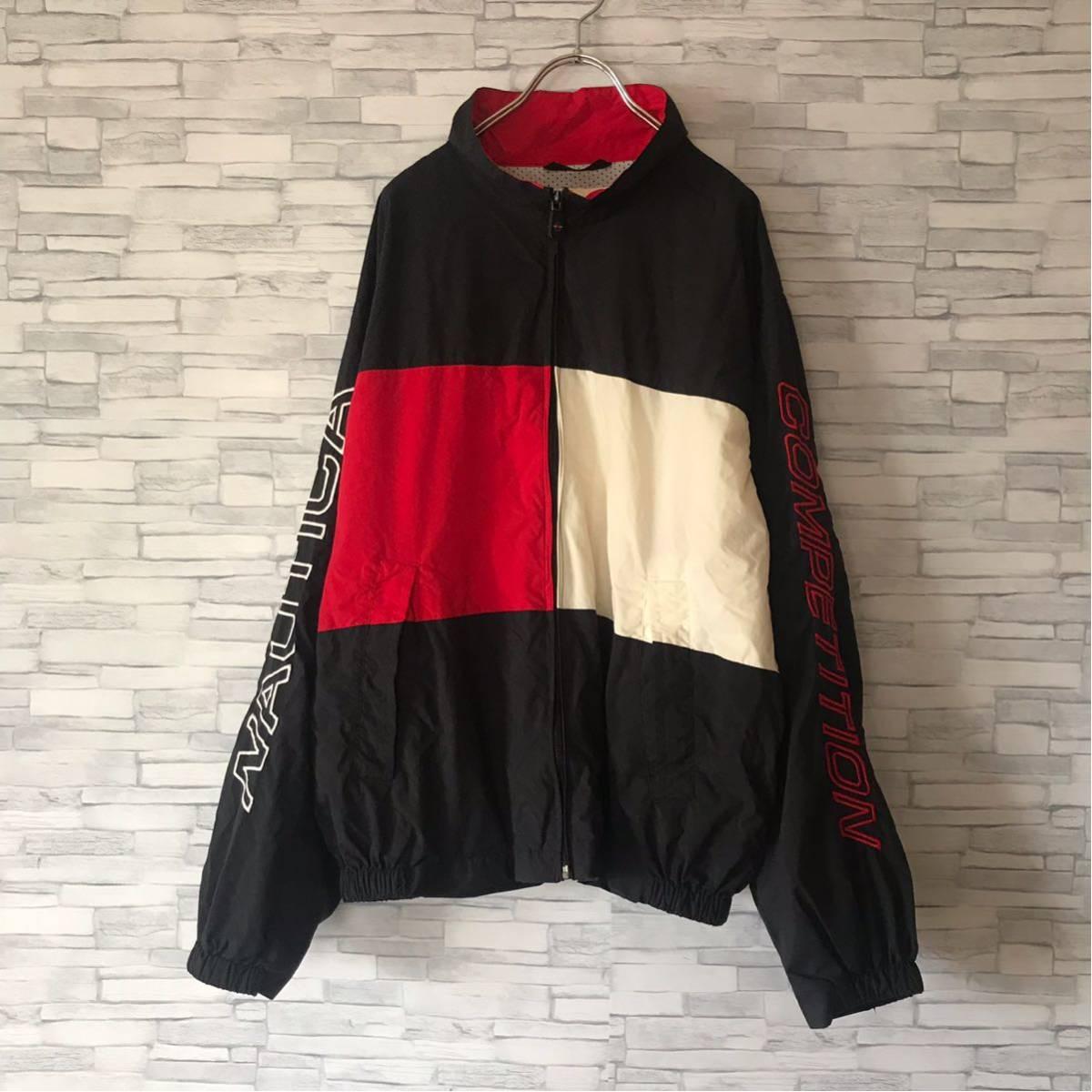 90s ノーティカ NAUTICA ナイロンジャケット ツートンカラー 袖ロゴ 裏メッシュ アウター ウィンドブレーカー セーリングジャケット_画像2