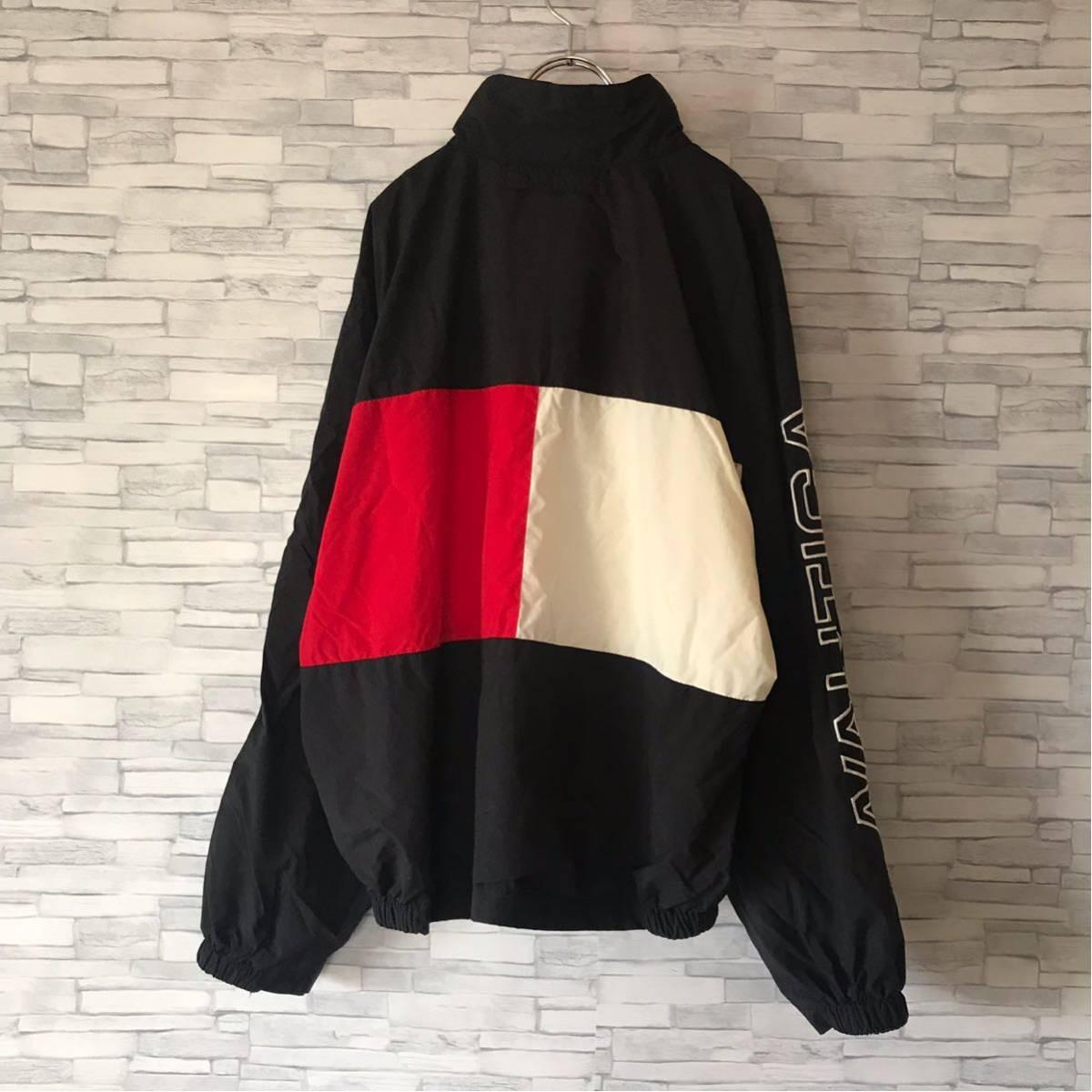 90s ノーティカ NAUTICA ナイロンジャケット ツートンカラー 袖ロゴ 裏メッシュ アウター ウィンドブレーカー セーリングジャケット_画像3