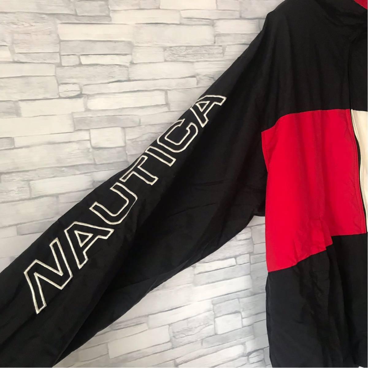 90s ノーティカ NAUTICA ナイロンジャケット ツートンカラー 袖ロゴ 裏メッシュ アウター ウィンドブレーカー セーリングジャケット_画像5