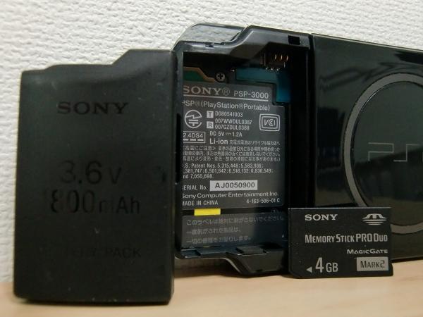 SONY PSP-3000 ピアノ・ブラック(グランツーリスモ仕様) 完動品 大容量バッテリーカバー付き 付属品有り クリックポスト可(Y)_画像3