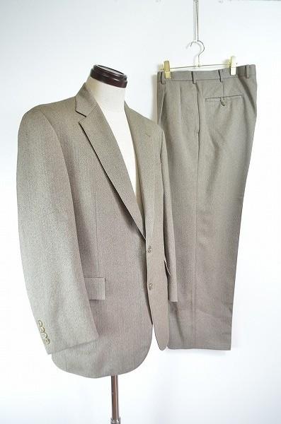[E19] 美品 ニューヨーカー New Yorker セットアップ スーツ ジャケット シングル 2B スラックス ベージュ系 ウール ヘリンボーン 総裏2