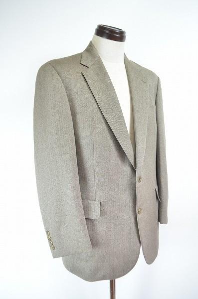 [E19] 美品 ニューヨーカー New Yorker セットアップ スーツ ジャケット シングル 2B スラックス ベージュ系 ウール ヘリンボーン 総裏3