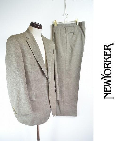 [E19] 美品 ニューヨーカー New Yorker セットアップ スーツ ジャケット シングル 2B スラックス ベージュ系 ウール ヘリンボーン 総裏1