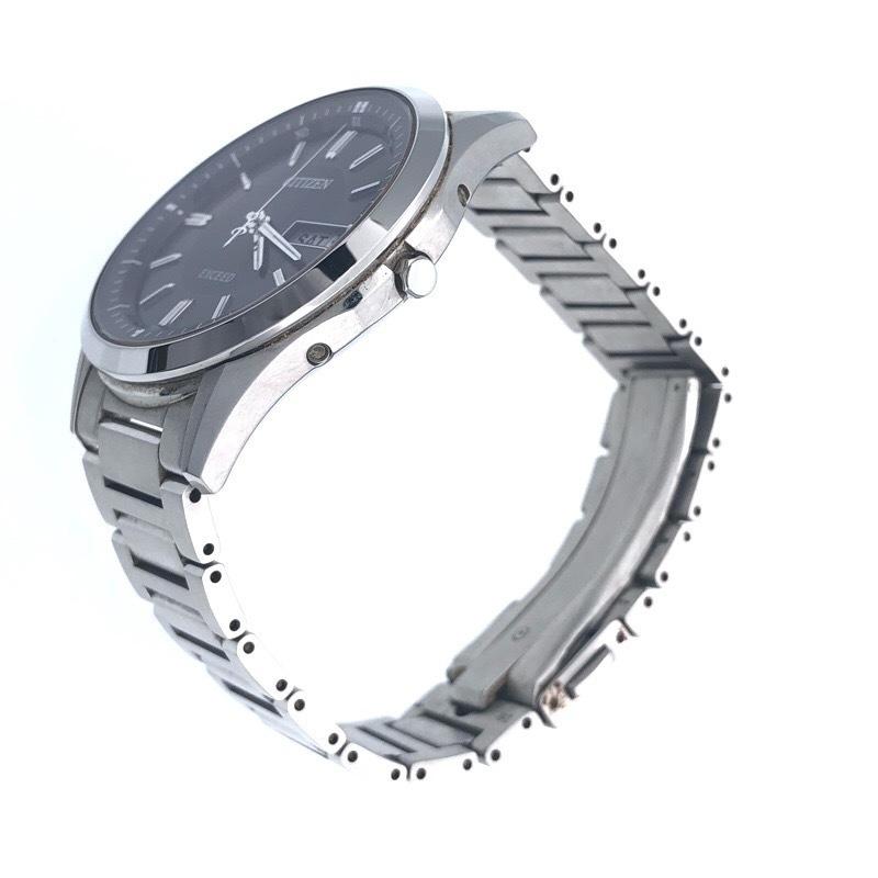 美品  シチズン エクシード AT6000-52E ソーラー電波 メンズ ブラック 腕時計_画像2