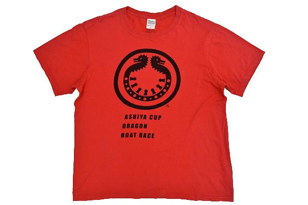 S-7026★送料無料★ASIYA CUP DORAGON BOATRACE 芦屋カップ ドラゴン ボートレース★レッド赤色 両面プリント 半袖Tシャツ XL_画像1