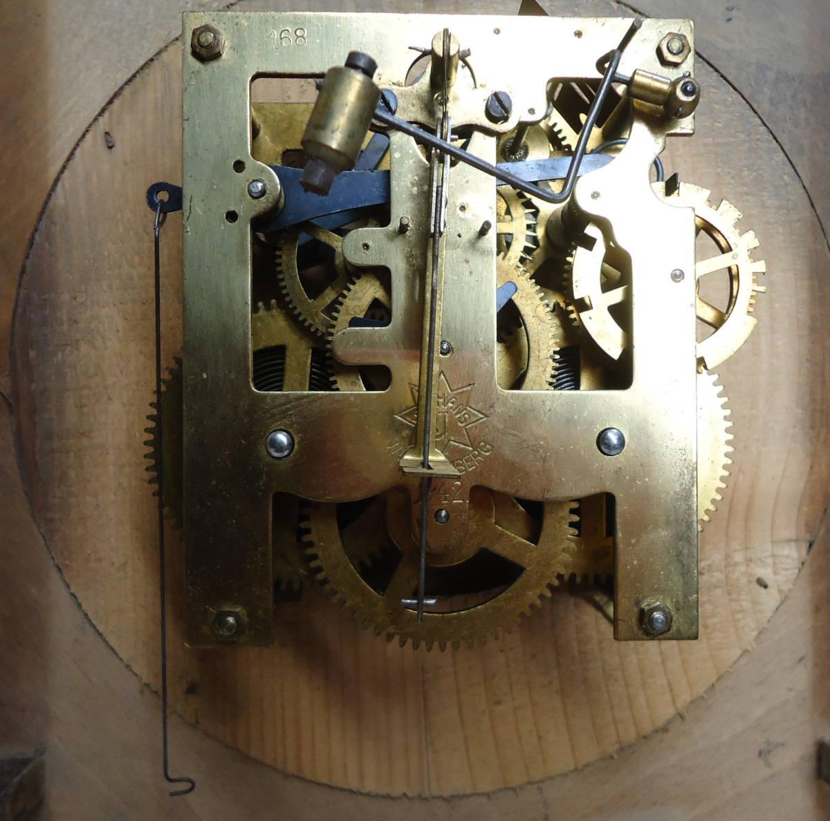 ドイツ製 ユンハンス 小型 柱時計 Jマーク/ガラス文字盤 動作品_画像8