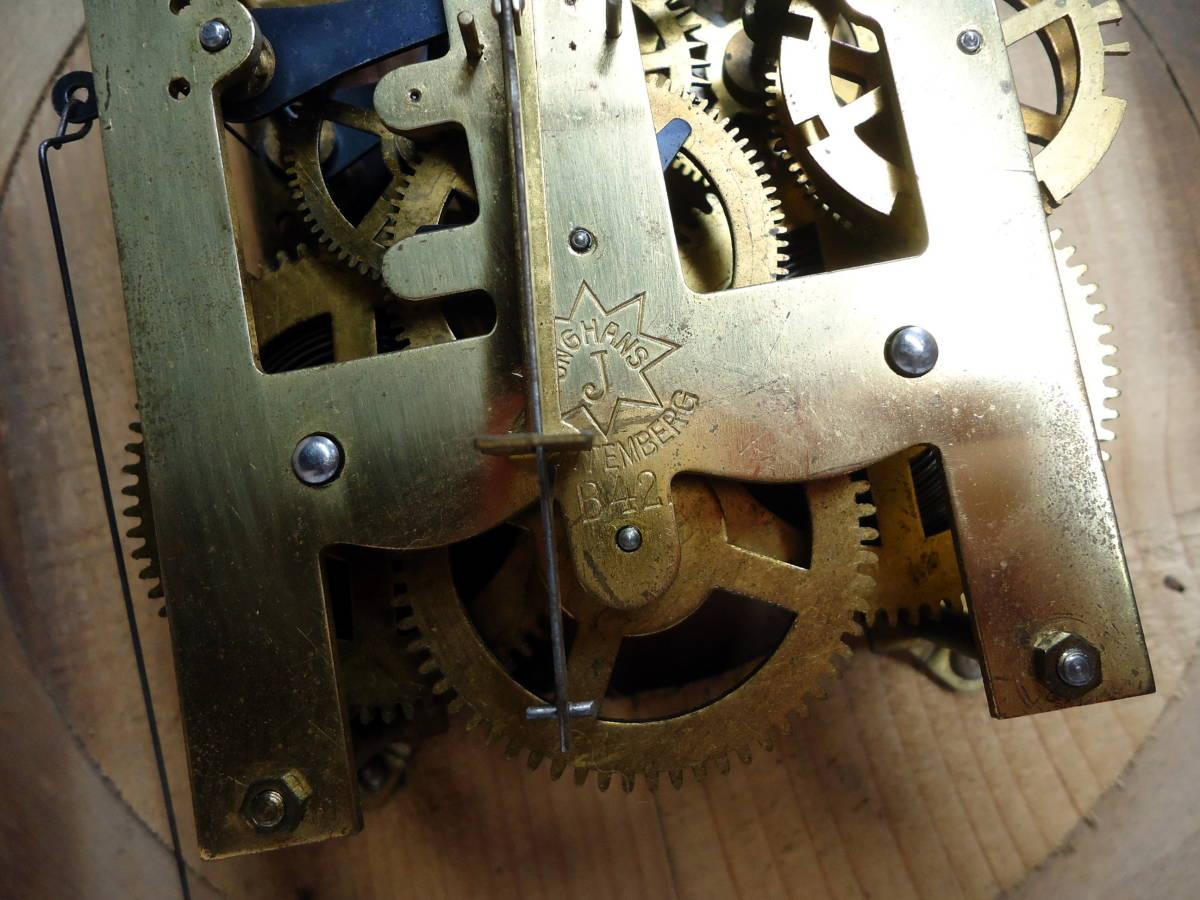 ドイツ製 ユンハンス 小型 柱時計 Jマーク/ガラス文字盤 動作品_画像9