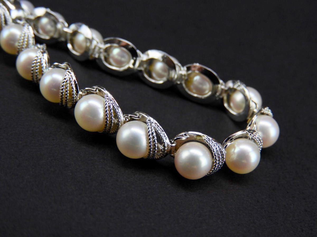 【久月】SILVERシルバー製 真珠0.6cm海水パール?ブレスレット 総重量約17.3g■T1970258■_画像4
