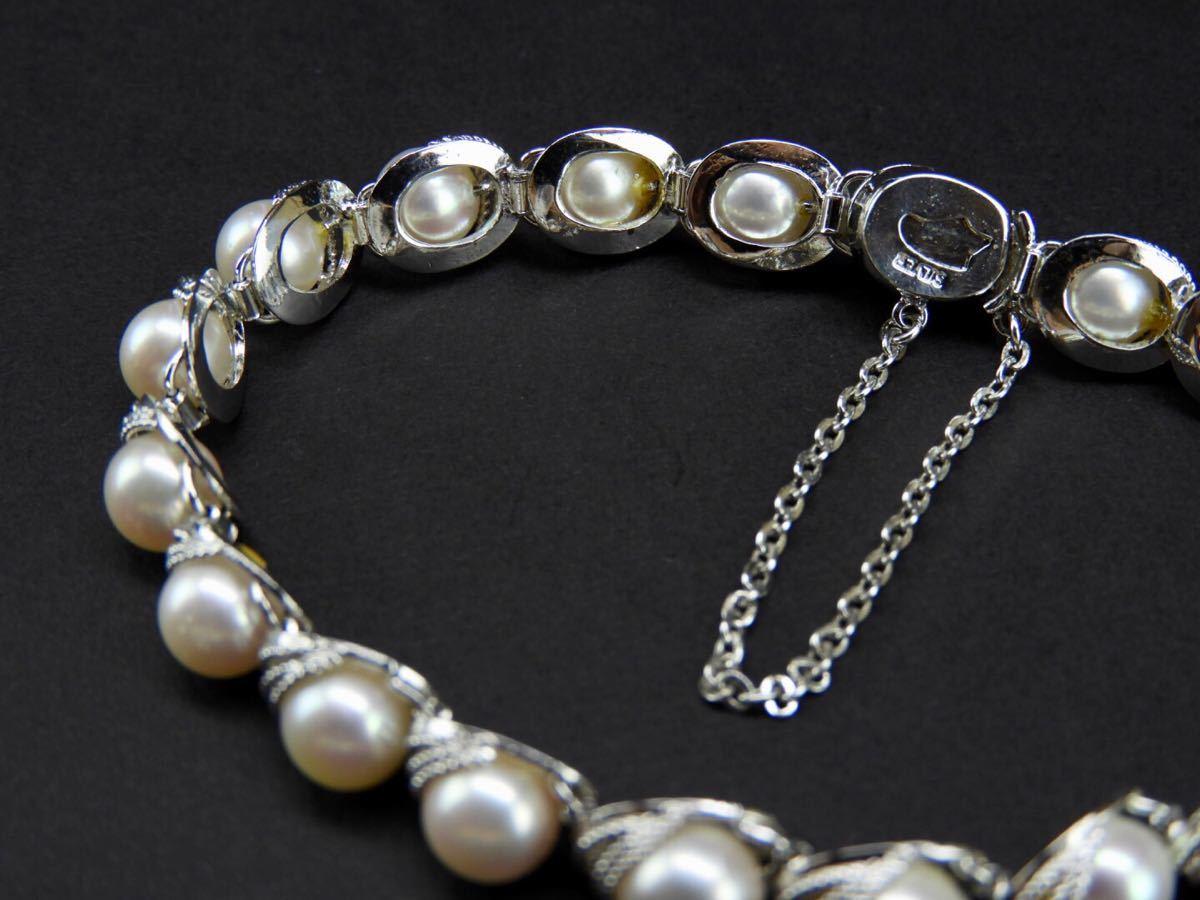 【久月】SILVERシルバー製 真珠0.6cm海水パール?ブレスレット 総重量約17.3g■T1970258■_画像3