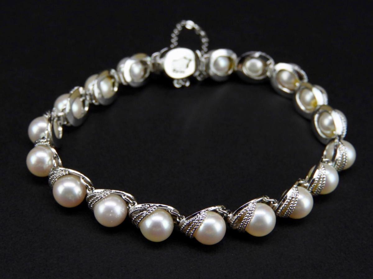【久月】SILVERシルバー製 真珠0.6cm海水パール?ブレスレット 総重量約17.3g■T1970258■