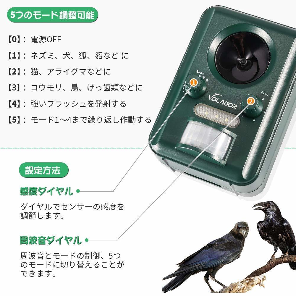 猫よけ 動物撃退機 超音波 猫対策 ソーラー&USB2Way充電 猫よけグッズ IP44防水タイプ 野良猫・野良犬・ネズミ・カラスなど #1597_画像2