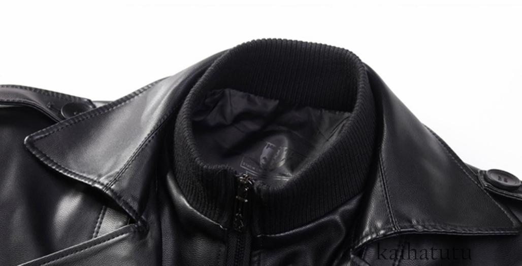 稀少!高品質★羊の皮100%スーツ 中長 皮革製服 紳士用レザージャケット メンズレザーウェア ビジネス ジャケット サイズ選択可_画像4