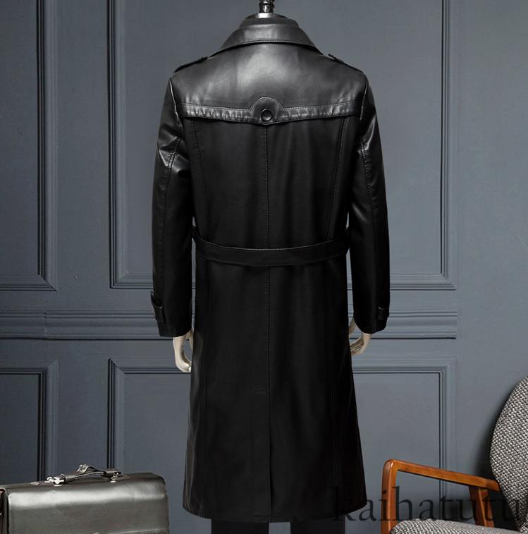 稀少!高品質★羊の皮100%スーツ 中長 皮革製服 紳士用レザージャケット メンズレザーウェア ビジネス ジャケット サイズ選択可_画像3
