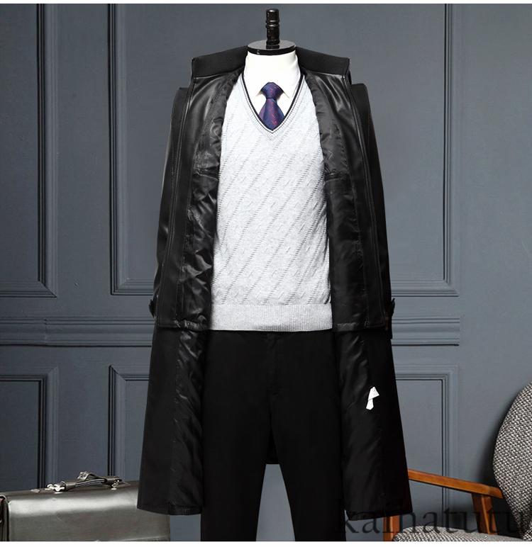 稀少!高品質★羊の皮100%スーツ 中長 皮革製服 紳士用レザージャケット メンズレザーウェア ビジネス ジャケット サイズ選択可_画像2