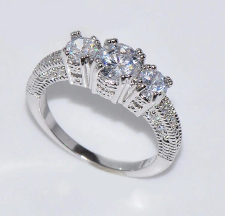 ◆Brand new◆AAA luxurious Shine CZ♪luxury sterling silver S925 zircon married engagement rings ring party Bridal jewelry No. 9