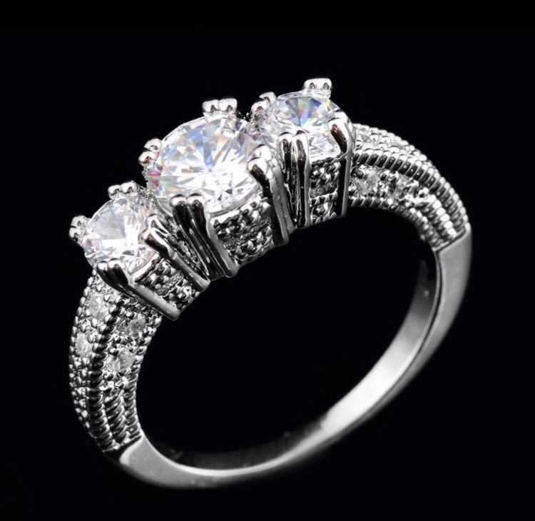 ◆Brand new◆AAA luxurious Shine CZ♪luxury sterling silver S925 zircon married engagement rings ring party Bridal jewelry No. 12