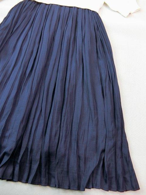 ■組曲大きいサイズ6今季完売プリーツスカートコンビニットワンピース紺白■_画像7