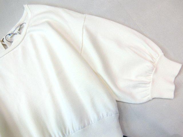 ■組曲大きいサイズ6今季完売プリーツスカートコンビニットワンピース紺白■_画像5