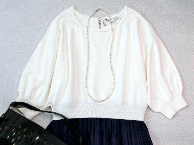 ■組曲大きいサイズ6今季完売プリーツスカートコンビニットワンピース紺白■_画像2