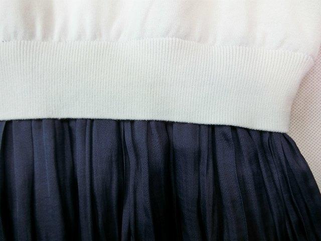■組曲大きいサイズ6今季完売プリーツスカートコンビニットワンピース紺白■_画像4