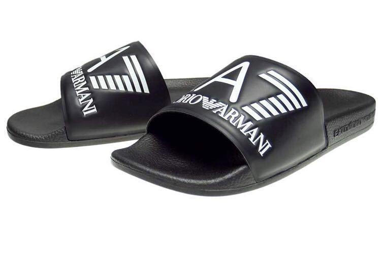 【新品】送料無料EMPORIO ARMANI エンポリオアルマーニ メンズシャワーサンダル EU42 約27㎝黒ブラック