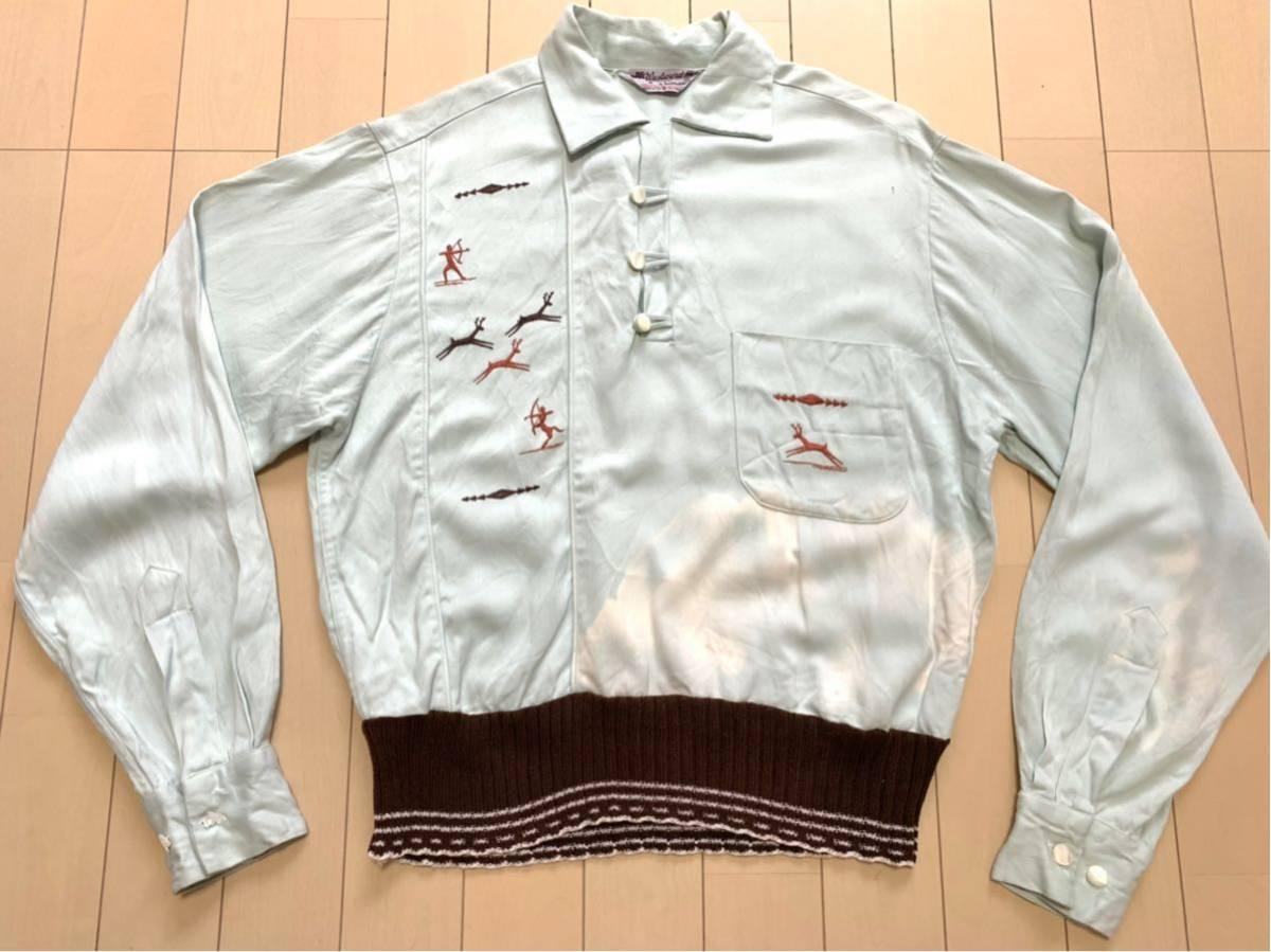 50's Westward-Ho! 刺繍 レーヨン ギャバジャン ギャバシャツ / ビンテージ 50年代 ロカビリー 40's 長袖 アロハ ハワイアン スカジャン
