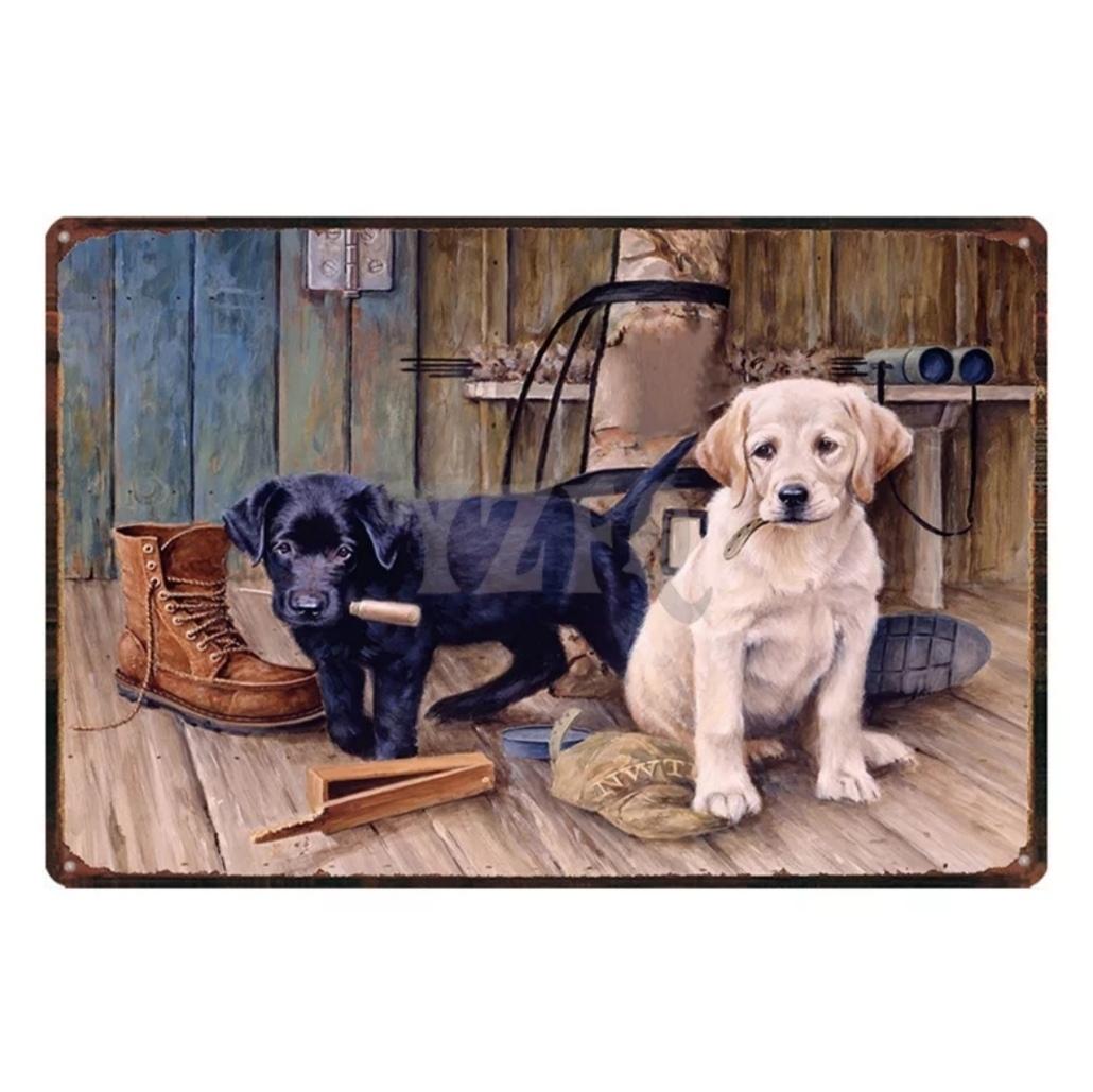 新品未使用 送料無料 ラブラドールレトリーバー ブリキ看板 メタルサインプレート 大型犬 グッズ インテリア雑貨 レトロ おしゃれ