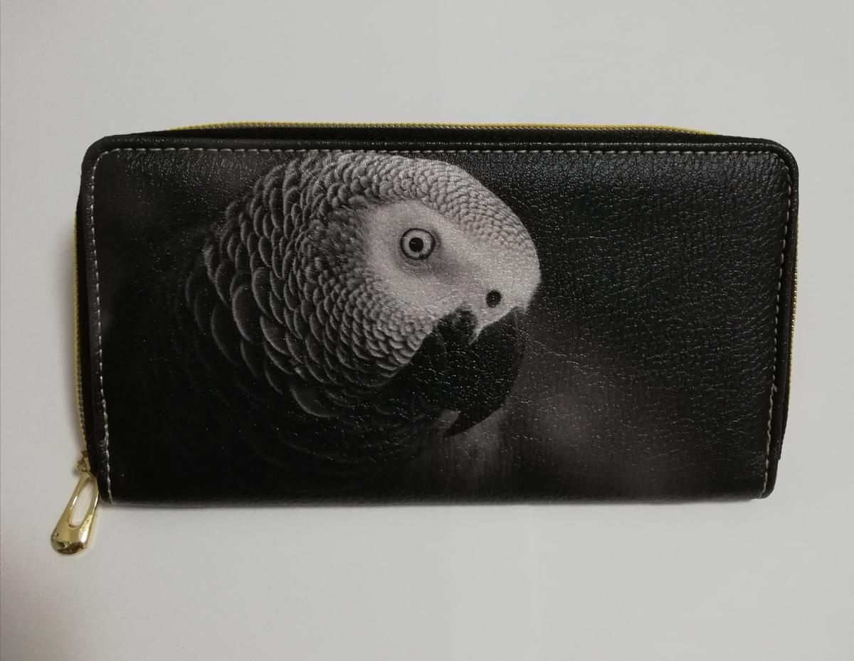 新品未使用 送料無料 ヨウム 長財布 お財布 鳥 オウム インコ ヨウム グッズ 黒 ブラック おしゃれ シンプル かっこいい_画像2
