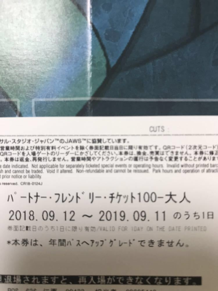 USJ ユニバーサルスタジオジャパン パートナー・フレンドリー・チケット 大人 1枚