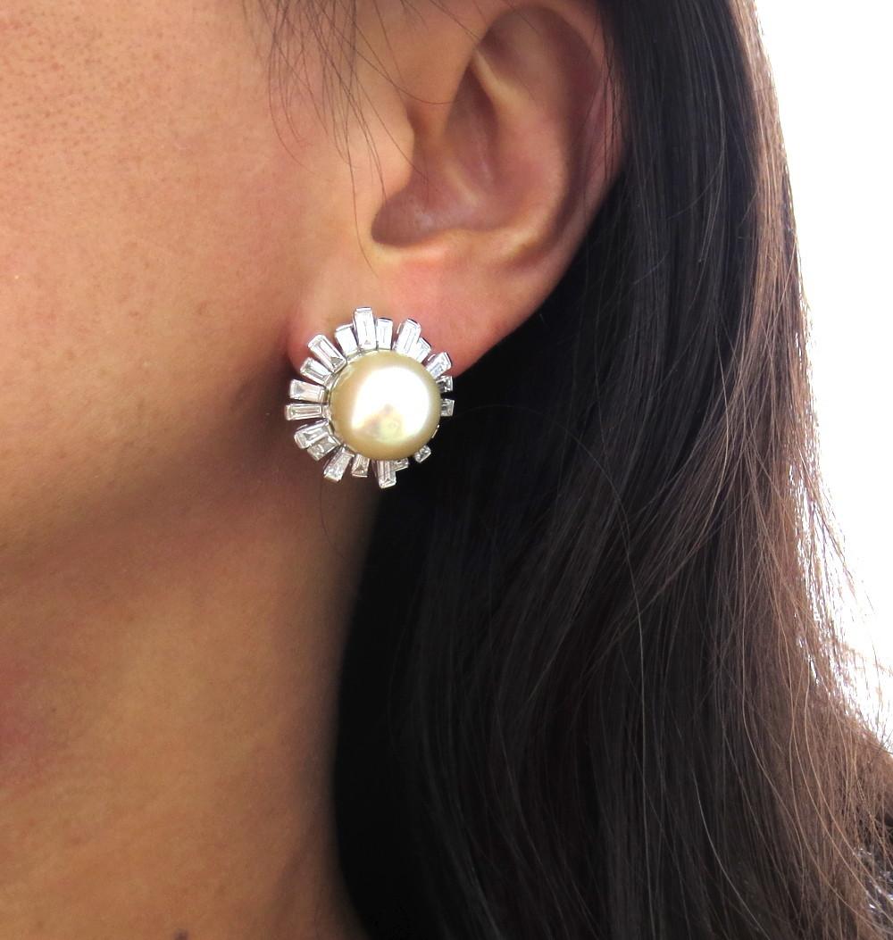 ◆美品◆5.0ct バゲットカット ダイヤモンド◆《13.5mm 南洋パール 真珠》【14金ホワイトゴールド 14K】《イヤリング》_画像10