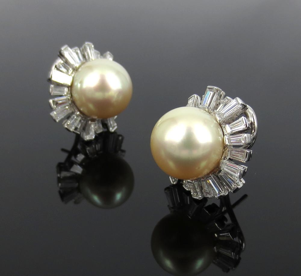 ◆美品◆5.0ct バゲットカット ダイヤモンド◆《13.5mm 南洋パール 真珠》【14金ホワイトゴールド 14K】《イヤリング》_画像2