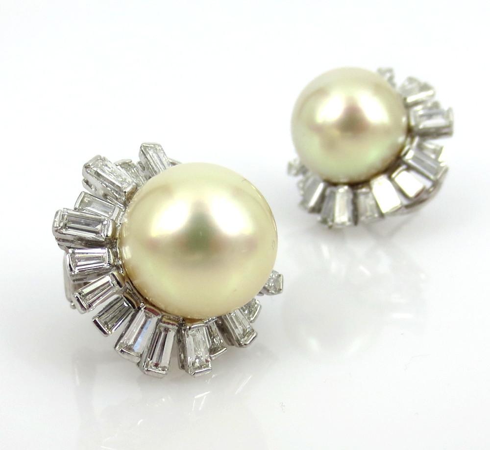 ◆美品◆5.0ct バゲットカット ダイヤモンド◆《13.5mm 南洋パール 真珠》【14金ホワイトゴールド 14K】《イヤリング》_画像7