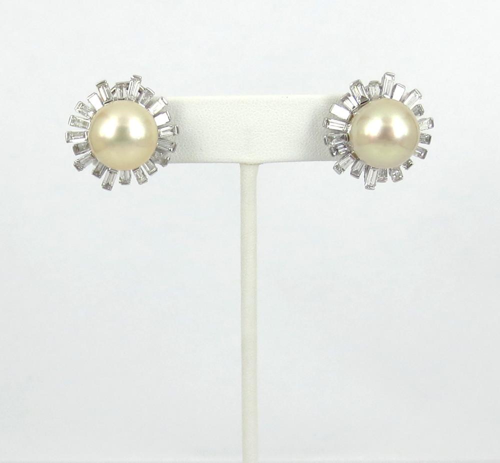 ◆美品◆5.0ct バゲットカット ダイヤモンド◆《13.5mm 南洋パール 真珠》【14金ホワイトゴールド 14K】《イヤリング》_画像3